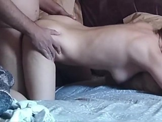 Couple fuck in bedroom doggy style, MILF