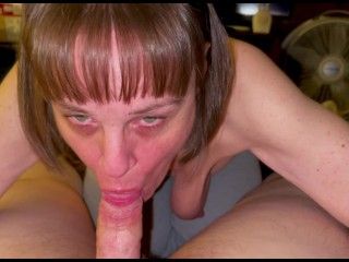 Gilf Mother in law sucks my cock dry! She loves swallowing every last drop of cum too!