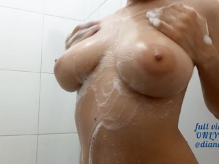 Showering and Touching my And my Hairy Pussy