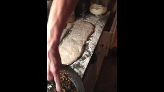 Skinny Tattooed Chef Working with Veins and muscle worship