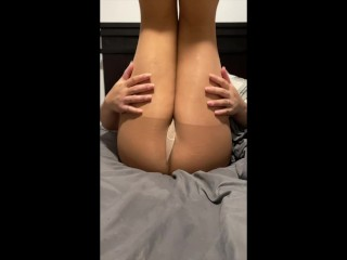 Pov with sexy legs hip thrusting foot play...