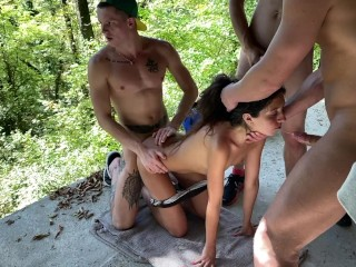 Four guys picked up a girl on the street and fucked her in an abandoned house. Part 1