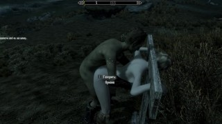 Porn with his personal maid at night in the parking lot | Skyrim sex mods