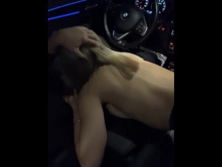 College girl gives a pro baseball player head in his car