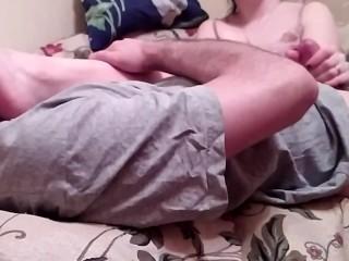 Handjob my i kissing sexy feet...