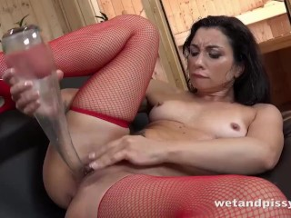 Juicy Pussy Pissing In Red Fishnets And Slutty Shoes
