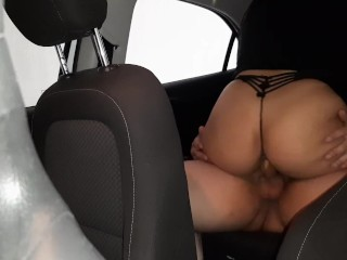 big ass brunette fucking in the car on public street