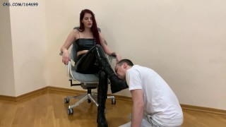 Devilish Mistress Sofi In Leather Boots and Latex - Foot and Shoe Worship Rough Femdom [PREVIEW]