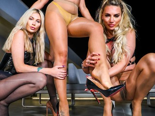 Two sexy lesbians dominate their slut slave in...