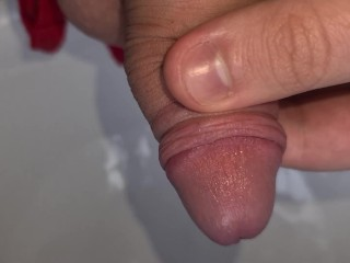 19 year old playing with uncut cock and pissing fun