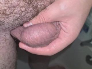 19 year old playing with his hairy uncut cock in the shower