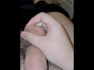 19 year old playing with uncut semi