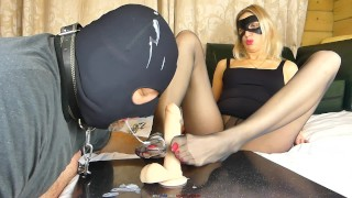 FOOTJOB SEXWIFE IN PANTYHOSE TRAINING HUBBY LICK FEET & SUCK DICK FOR LOVER & CLEAN HIM CUM