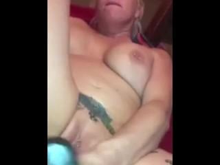 Huge dildo in pussy