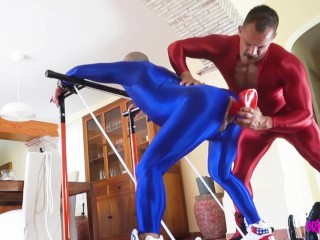 Muscle men bdsm in full spandex suits...