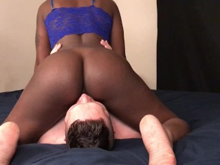 Black snow black rides on white guys face and cums over and over but can't resist sucking dick