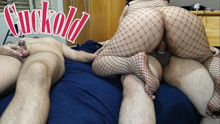 Fucking another guy while my chastity cuckold slave watches