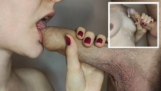 He Cums on My Tits After I Play With His Foreskin and Suck his Cock