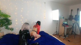 Backstage of pretty lesbian fetish girls doing sex video. Positive Femdom, sex play, latex leather