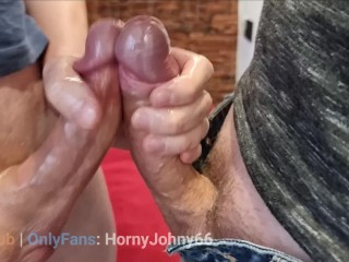 Friends enjoy each others cocks and pour the...