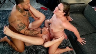 Shy young wife joins couple for the first time in interracial threesome