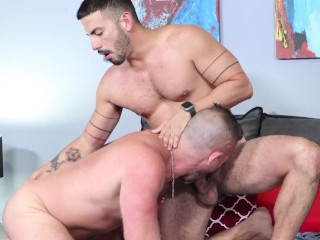 Extrabigdicks intense kissing session his young pup...