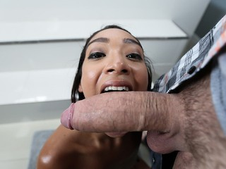 Petite Ebony Sarah Lace Plays With Big Cock