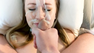 BIGGEST FACIAL ON PORNHUB - Arms Trapped Taking Tons of Real, Giant Cum!