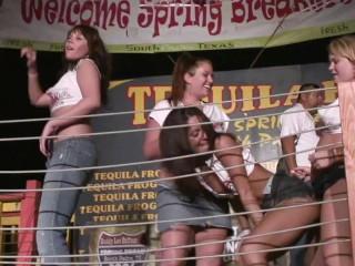 Saucy babes flash their in wet t shirt...