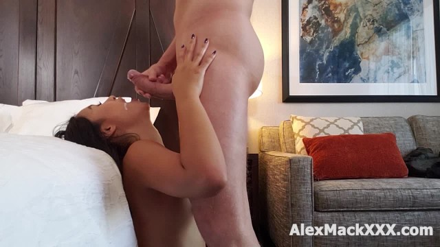 Cute Asian Teen is sucking a big cock until it BLOWS all over her FACE 1