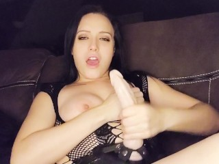 JOI- Mistress strokes 10 inch strap on & countdown until you cum.