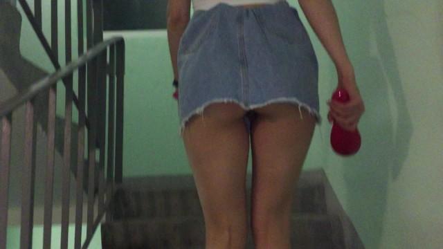 Upskirt Flashing Pussy under skirt climbing the ladder 1