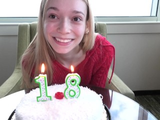 Very petite blonde has just turned 18 and is making her porn debut
