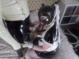 Miss Maskerade in full rubber give a blowjob to her latex Lord and swallow his sperm