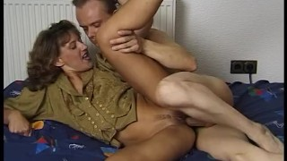 Horny mature woman gets all fuck holes drilled deep by guy on the bed