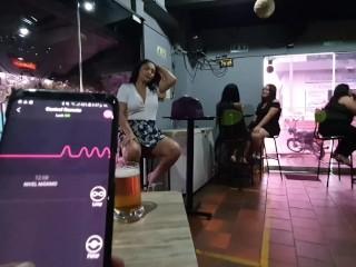 Martinasmith1 squirt hard over the waiter at the Bar