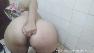Real Arab Muslim Mommy In Hijab Anal Masturbation To Squirting Orgasm And Ass Fingering On Webcam