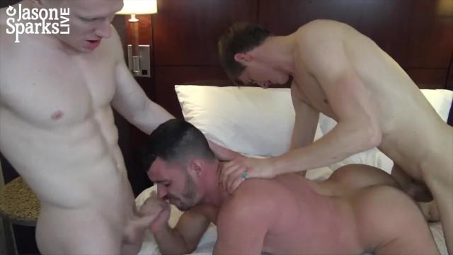 JasonSparksLive - two smooth jocks take bareback cock from hung twink