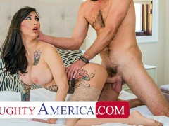 Naughty America - Tattooed bombshell, Lily Lane, demands sex from her husband's friend before sendin