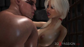 Hot sex in the dungeon! Cute virgin gets fucked hard by a big monster