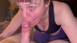 Mature cougar sucking the cum out of her son in law and showing and swallowing cum