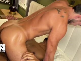 Interracial hardcore bareback fuck with monster cock...