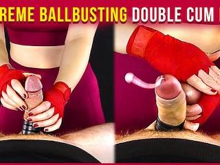 Extreme ballbusting double cum era...