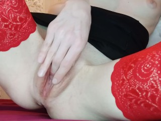 Sweet young woman with no lingerie under the skirt masturbates till orgasm.