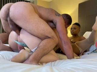 Girl take turns with big dick stud...