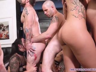 Ten person las vegas orgy rough raw fucking...