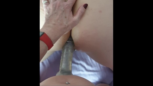 First-Time Pegging - Sexy Mature Step Mom and StepSon try cock in his bum !