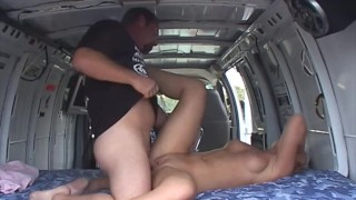 blonde with Nice Natural Tits gives Deepthroat and Hard Fuck in Van at Bike Race to MILF Hunter