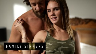 Family Sinners - Natalie Knight Sneaks Into Her Stepfather's Bed & Wakes Him Up To Eat Her Pussy