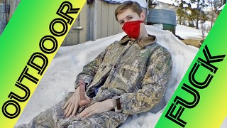 Redneck Country Boy Plays With His Cock Outdoors at the Farm and Shoots His Load On the Snow